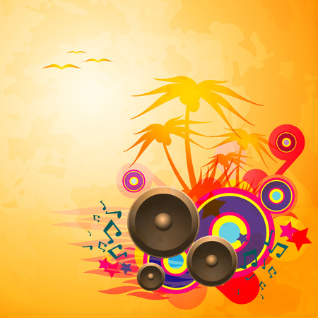 Disco Dance Tropical Music Flyer.   Vector