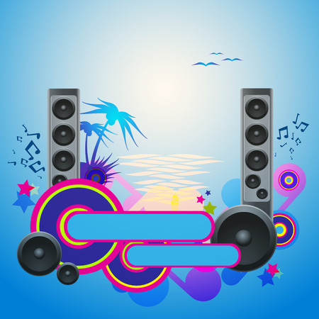 Night Disco Dance Tropical Music Flyer. Vector