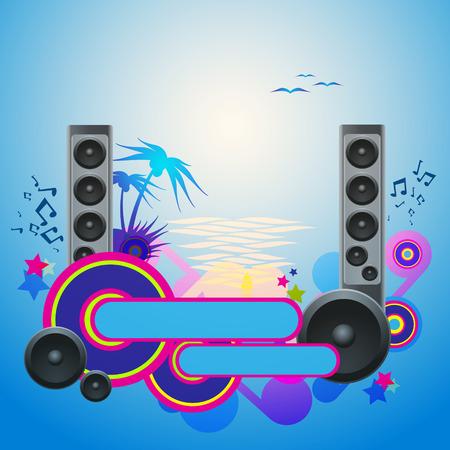 Night Disco Dance Tropical Music Flyer. Illustration