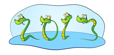 snake year: Snake numbers. Symbol of new year.  Illustration