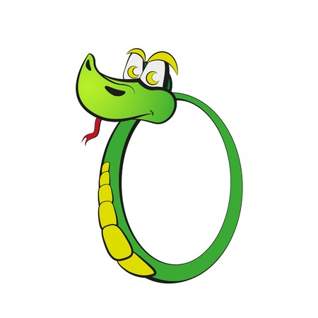Snake in the form of number zero. Vector