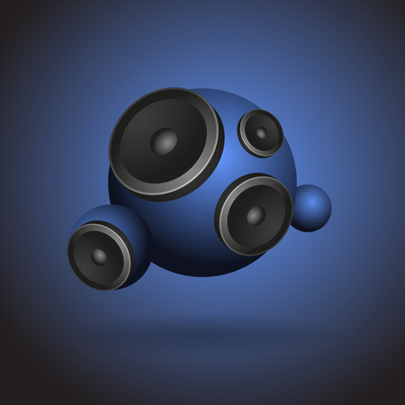 Abstract blue music background with round speakers.  Vector