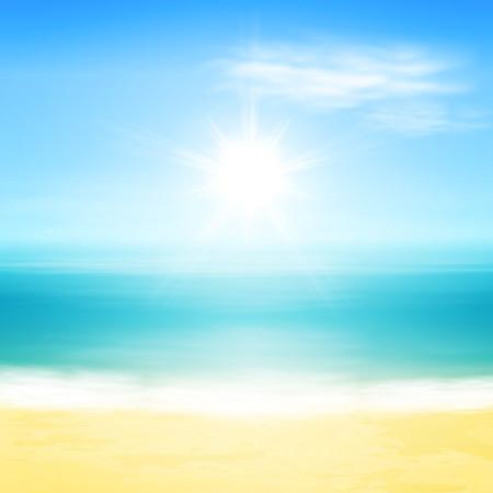 Praia e mar tropical com sol brilhante.