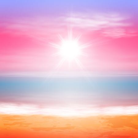 밝은 태양이 바다 일몰.