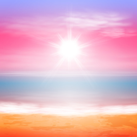 Sea sunset with bright sun.