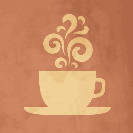 tazas de cafe: Copa con elementos florales de diseño vintage. Vectores