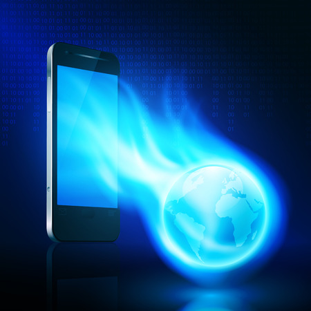 Flying flaming the globe from mobile phone on dark background with stream of binary code.  Vector
