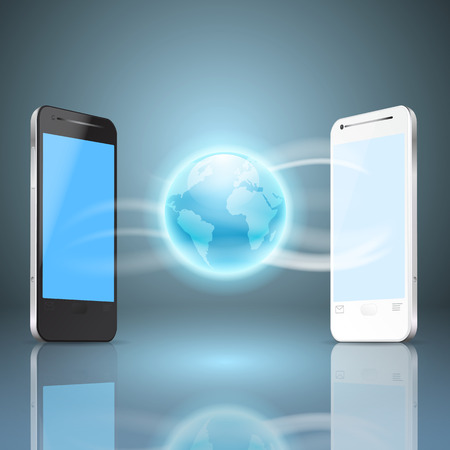 Phones and the globe, mobile internet concept.   Vector