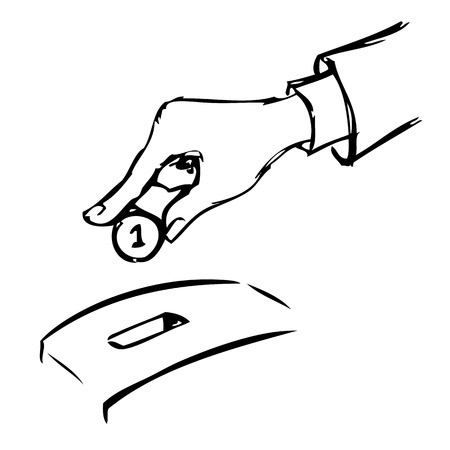 Hand inserting coin into bank. Vector illustration. 向量圖像