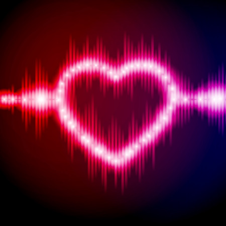 electronic music: Abstract equalizer background with heart. Blue-Purple wave.