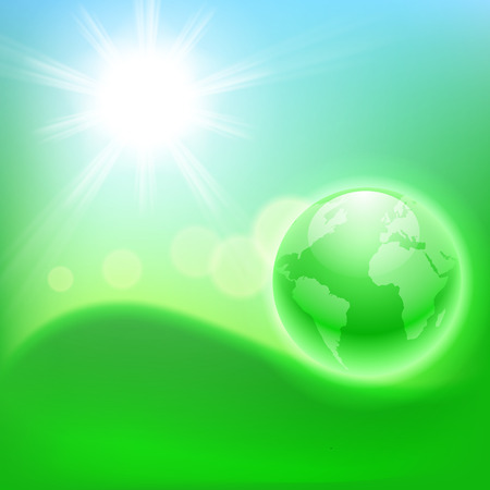 Concept ecological background with the globe.  Vector