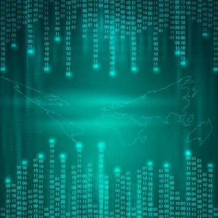 Stream of binary code to world map.   Vector