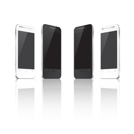 Realistic vector mobile phone in different positions.  Vector