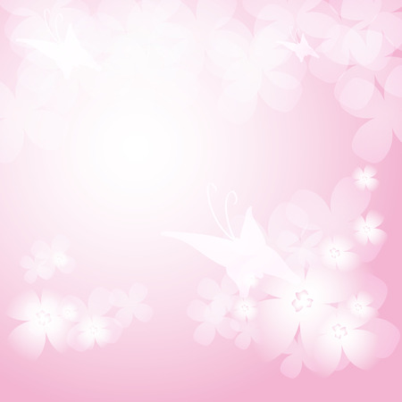 Background with beautiful pink flowers and butterflies.