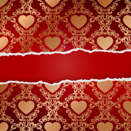 roztrhaný: Ragged papír se vzorem srdce.