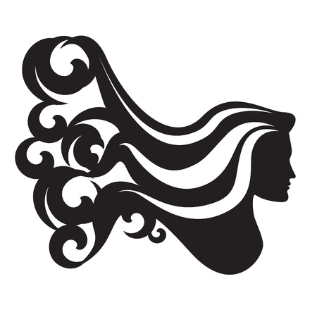 frizzy: Profile silhouette of a woman head with long waving hair.