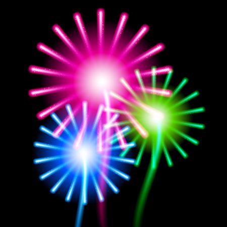 fire works: Color fireworks on black background.  Illustration