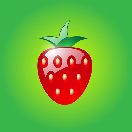 Strawberry on green background.  Vector
