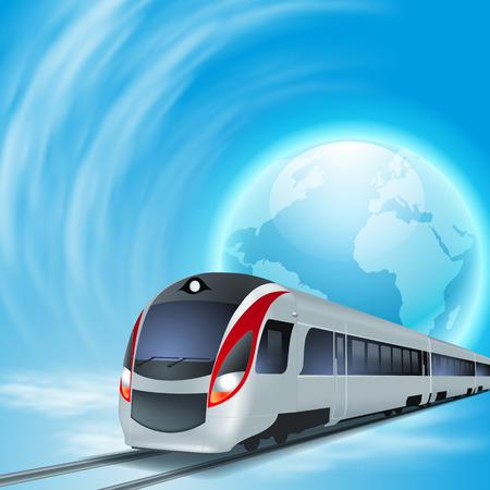 Konzept Hintergrund mit High-Speed-Zug, der ganzen Welt. Vektorgrafik