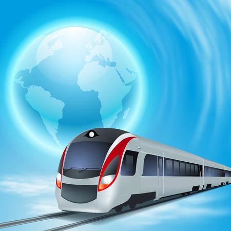 Konzept Hintergrund mit High-Speed-Zug, der ganzen Welt. Illustration