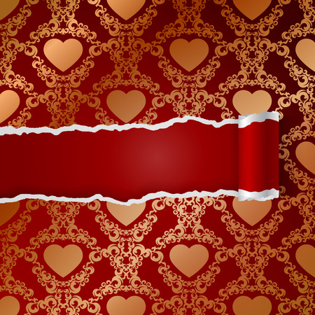 ragged: Ragged paper with pattern of hearts.   Illustration