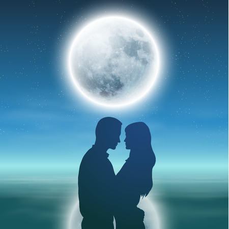 Sea with full moon and silhouette couple at night.   Vector