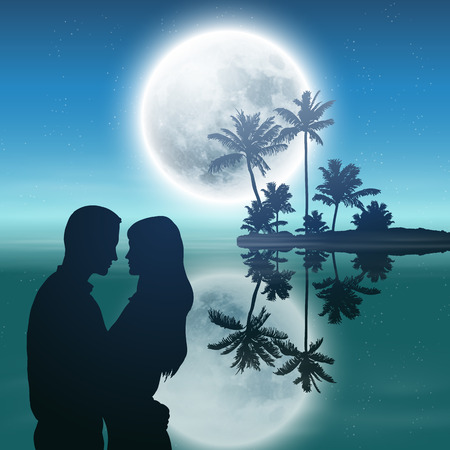 Sea at night. Island with palm trees, full moon and silhouette couple  Illustration
