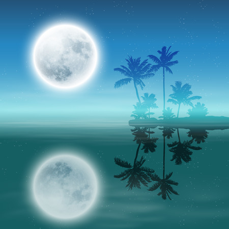 Sea with island with palm trees and full moon at night.   Vector