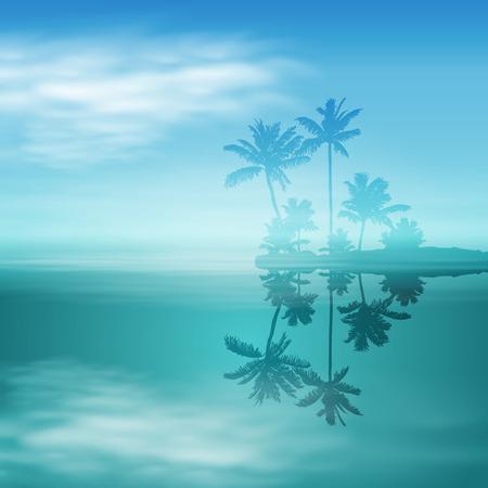 Meer mit Insel und Palmen.