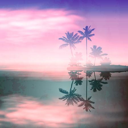 섬과 팜 나무와 바다 일몰. 오래 된 종이 질감 레트로 스타일.