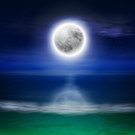 Beach with full moon at night.  Vector