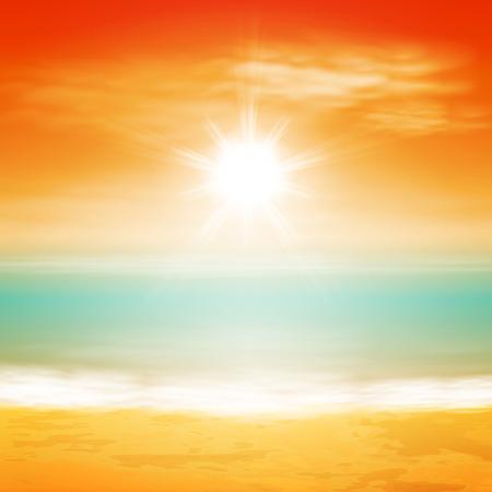 明るい太陽と海の夕日。  イラスト・ベクター素材