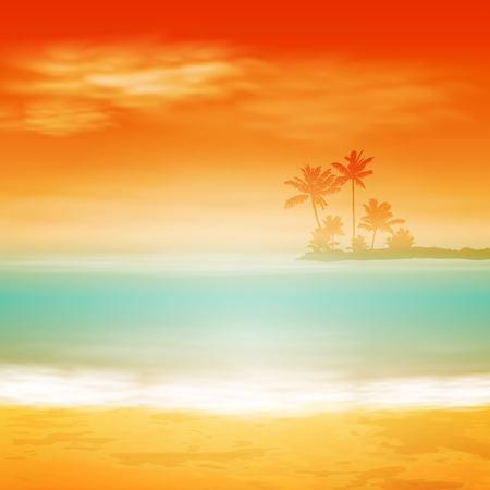 Sea sunset with island and palm trees.  Vector