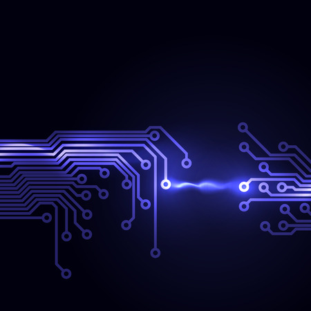 Abstract dark background with a circuit board texture.   Vector