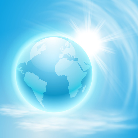 Background with globe and sun.  Vector