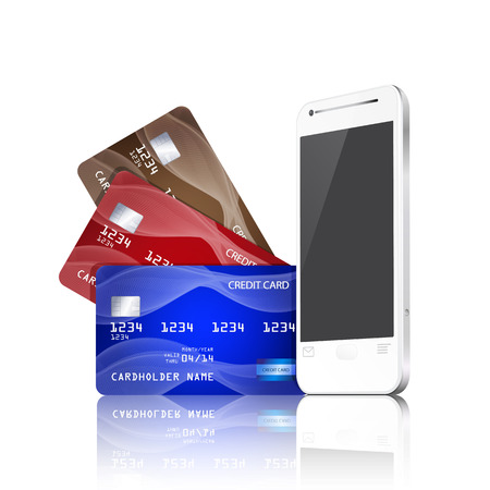 신용 카드와 휴대 전화. 모바일 결제의 개념입니다.
