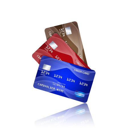 Credit cards isolated on white background.