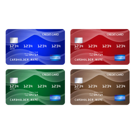 Set of credit cards in 4 different colors. Illustration