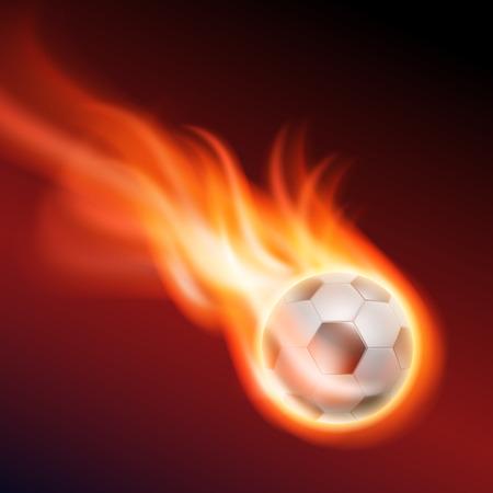 Burning football.  Vector