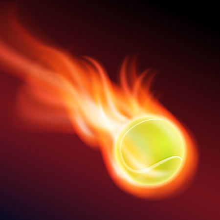 Burning tennis ball Vector