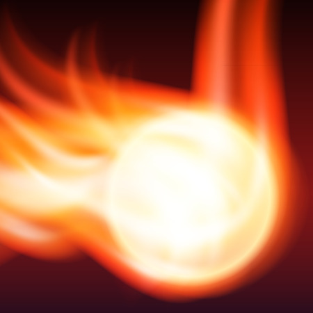 Abstract background with flames and fiery sphere    Vector