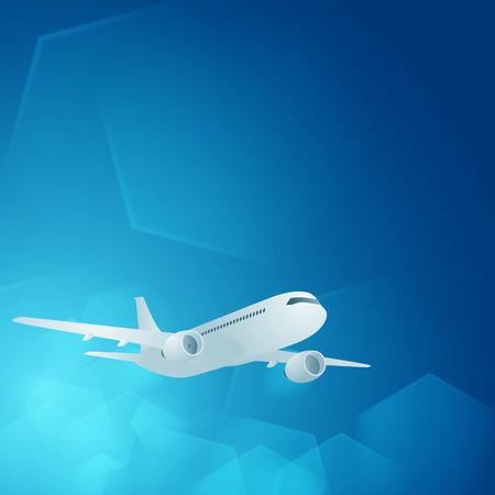 空に飛行機。テキストのための場所と背景