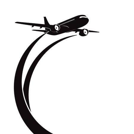 fekete-fehér: Repülőgép Illusztráció