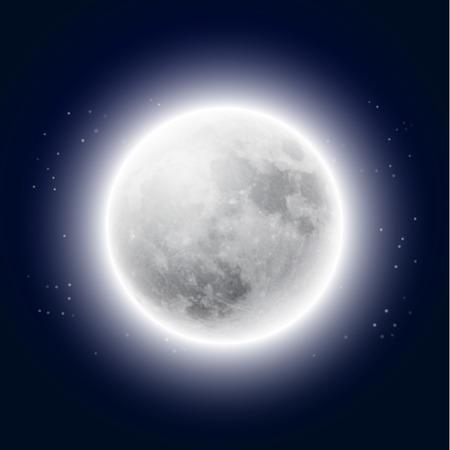 Volle maan in de nachtelijke hemel.