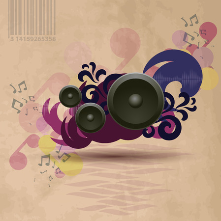 Abstract vintage music background with speakers.   Illustration