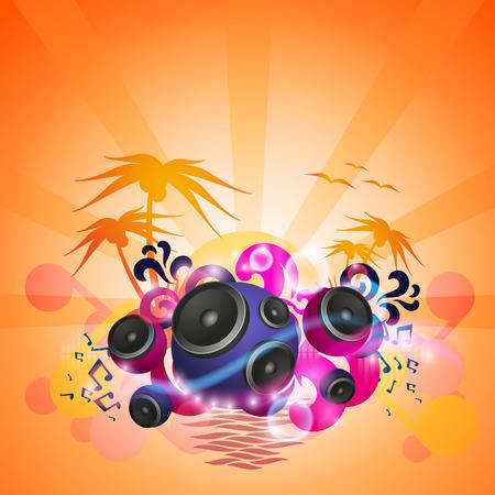 Disco Dance Tropical Music Flyer. Illustration