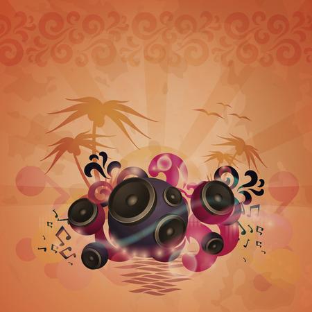 Disco Dance Tropical Music Flyer.   Vector