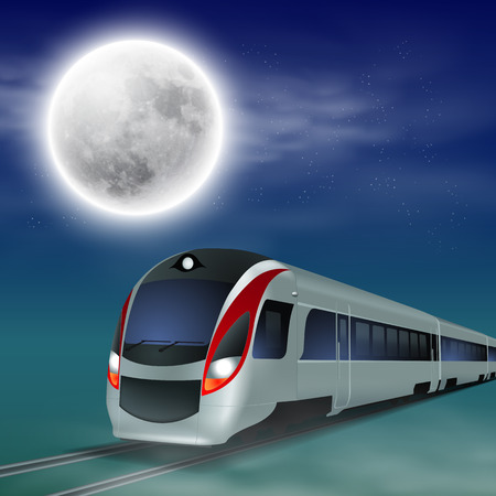 highspeed: High-speed train at night with full moon Illustration