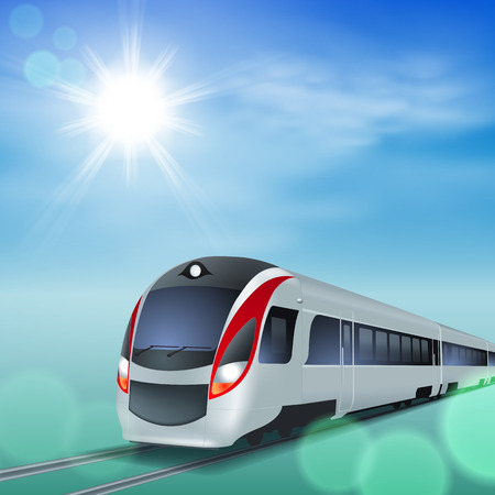 High-Speed-Zug am sonnigen Tag. Illustration