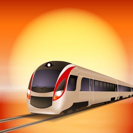 intercity: High-speed train with big sun over background. Sunset time.